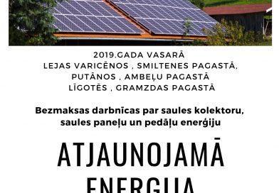 Iespēja pieteikties bezmaksas darbnīcām par atjaunojamo enerģiju